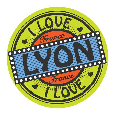 france stamp: Grunge color stamp with text I Love Lyon inside Illustration