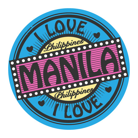 manila: Grunge color stamp with text I Love Manila inside Illustration