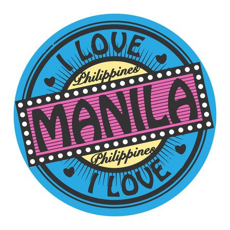 manila: Grunge color stamp with text I Love Manila inside Illustration