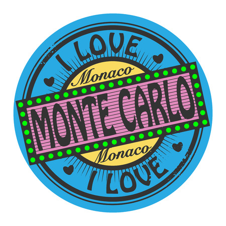 carlo: Grunge color stamp with text I Love Monte Carlo inside