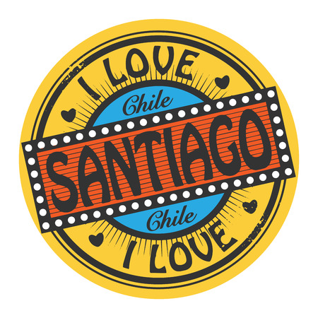 santiago: Grunge color stamp with text I Love Santiago inside Illustration