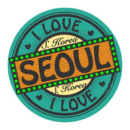 seoul: Grunge timbre de couleur avec le texte J'aime S�oul int�rieur