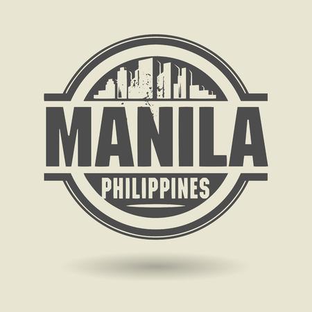 manila: Timbro o l'etichetta con il testo Manila, Filippine all'interno Vettoriali