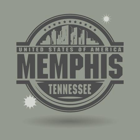 tennesse: Sello o etiqueta con el texto de Memphis, Tennessee en el interior