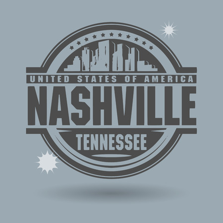 Stamp or label with text Nashville, Tennessee inside Vectores