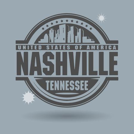 Stempel of het etiket met tekst Nashville, Tennessee binnen Stock Illustratie