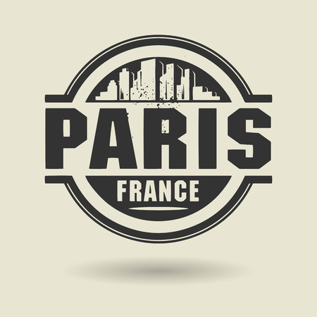 Stamp or label with text Paris, France inside Vector