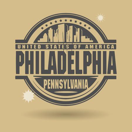 philadelphia: Stamp or label with text Philadelphia, Pennsylvania inside