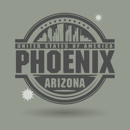 Stamp or label with text Phoenix, Arizona inside Vector