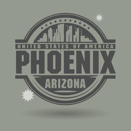 arizona: Stamp or label with text Phoenix, Arizona inside