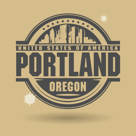 Stamp or label with text Portland, Oregon inside Vector