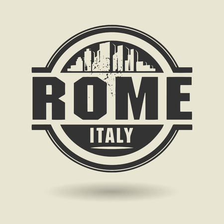 Stamp or label with text Rome, Italy inside Vector