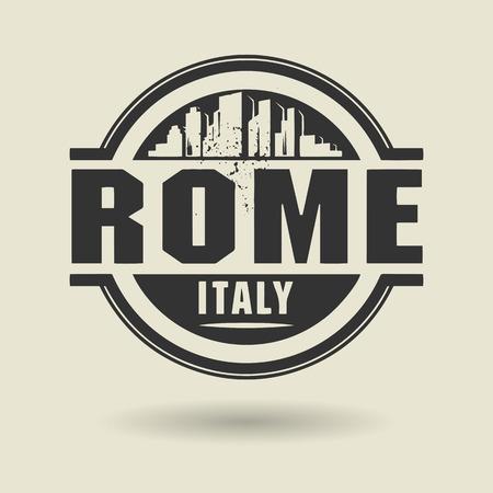 rome italie: Tampon ou une �tiquette avec le texte Rome, Italie l'int�rieur