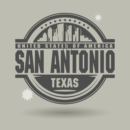 Stamp or label with text San Antonio, Texas inside Vector
