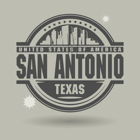 antonio: Stamp or label with text San Antonio, Texas inside Illustration