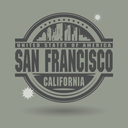 Stamp or label with text San Francisco, California inside Vector
