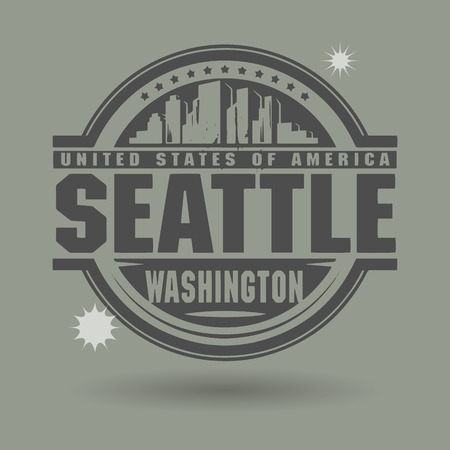 Stamp or label with text Seattle, Washington inside Vector