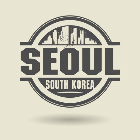 seoul: Stamp or label with text Seoul, South Korea inside Illustration