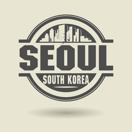 seoul: Tampon ou une �tiquette avec le texte de S�oul, en Cor�e du Sud � l'int�rieur