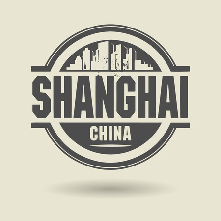 shanghai: Stamp or label with text Shanghai, China inside Illustration