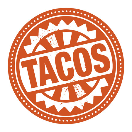 Abstract stamp or label with the text Tacos written inside Vector