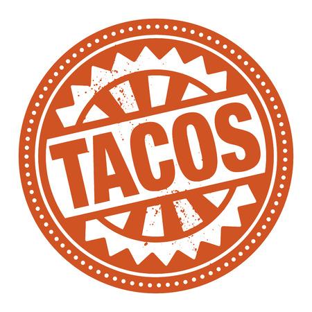 Abstract stempel of etiket met de tekst geschreven binnen Tacos