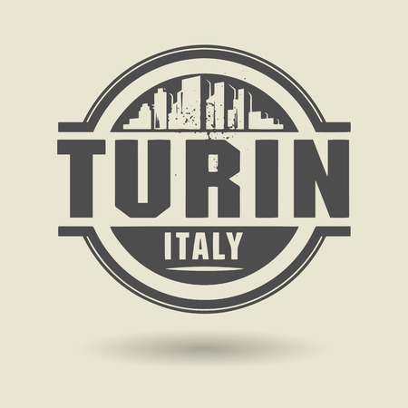 turin: Stamp or label with text Turin, Italy inside Illustration