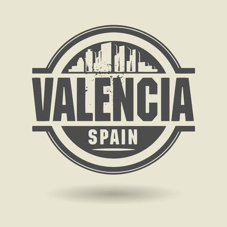 valencia: Stamp or label with text Valencia, Spain inside Illustration