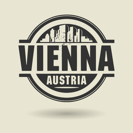 Stamp or label with text Vienna, Austria inside Vector