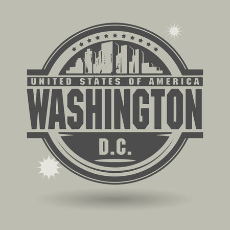 Stamp or label with text Washington, District of Columbia inside Vector