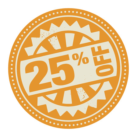 Abstract stamp or label with the text 25 percent off written inside Vector