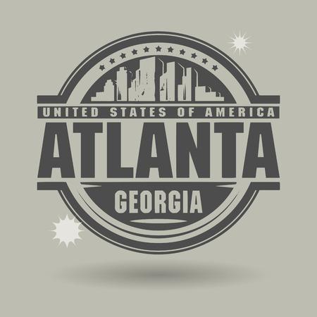 atlanta tourism: Stamp or label with text Atlanta, Georgia inside Illustration