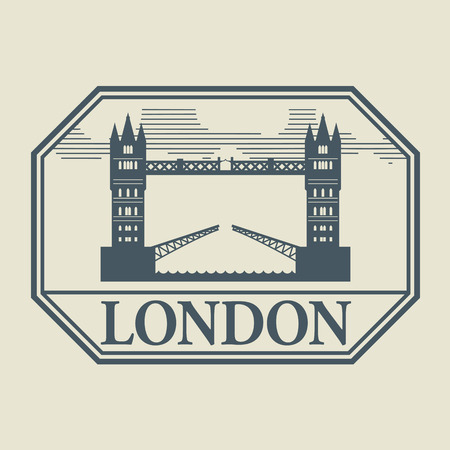 Stamp or label with word London inside Vector