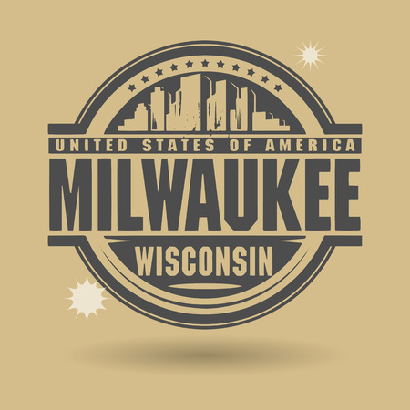 wisconsin: Stamp or label with text Milwaukee, Wisconsin inside Illustration
