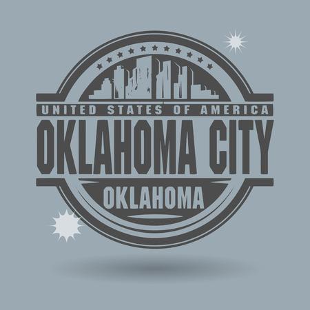oklahoma: Stamp or label with text Oklahoma City, Oklahoma inside Illustration