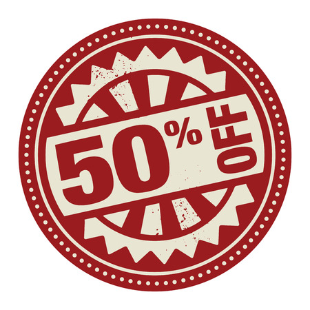 selling off: Abstract stamp or label with the text 50 percent off written inside