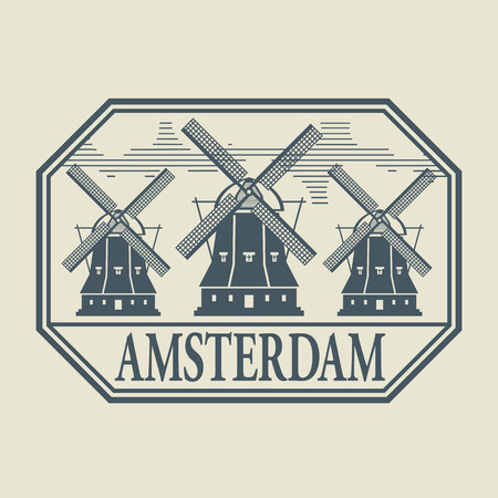 dutch landmark: Stamp or label with word Amsterdam inside