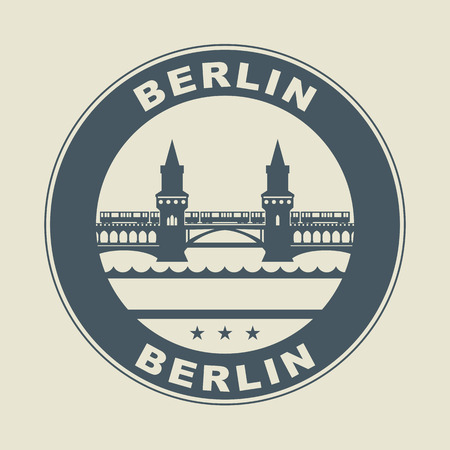 Stamp or label with word Berlin inside Vector