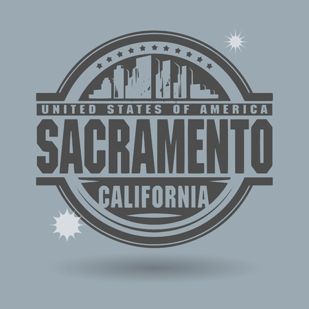 Stamp or label with text Sacramento, California inside Vector