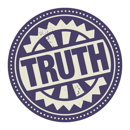 factual: Abstract stamp or label with the text Truth written inside