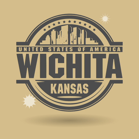 Stamp or label with text Wichita, Kansas inside Vector