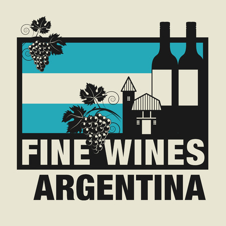 wines: Stamp or label with words Fine Wines, Argentina
