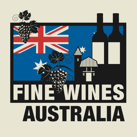australia stamp: Stamp or label with words Fine Wines, Australia Illustration