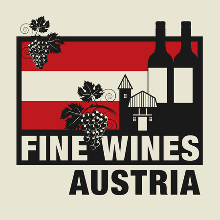 Stamp or label with words Fine Wines, Austria