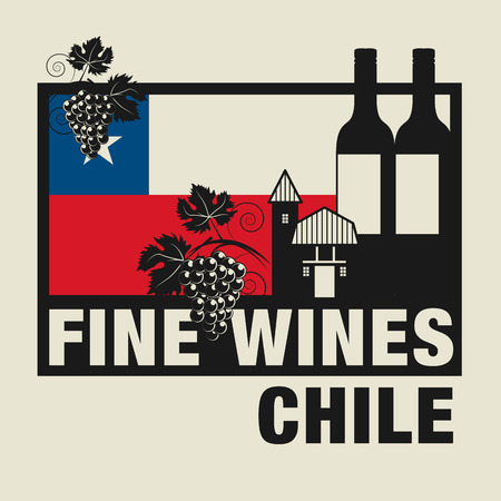 chilean flag: Stamp or label with words Fine Wines, Chile Illustration