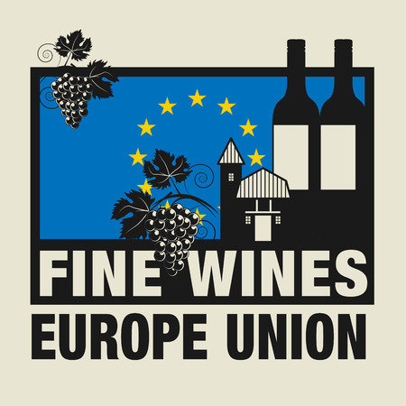 wines: Stamp or label with words Fine Wines, Europe Union Illustration