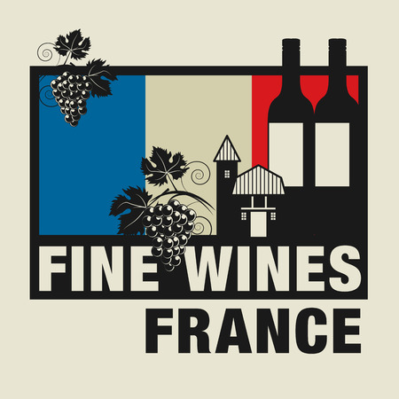 french countryside: Stamp or label with words Fine Wines, France