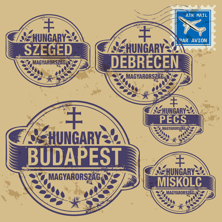 Grunge rubber stamp set with names of Hungary cities Vector