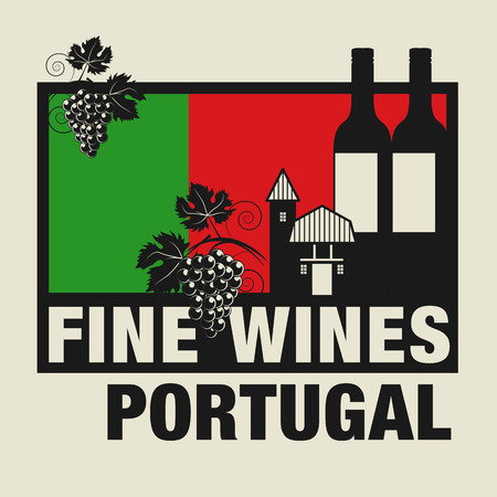 portugese: Stamp or label with words Fine Wines, Portugal