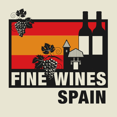 wines: Stamp or label with words Fine Wines, Spain Illustration